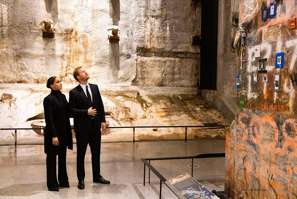<p>Meghan and Harry took a moment to reflect as they looked up at the last foundation pillar that was standing from the World Trade Center site.</p>