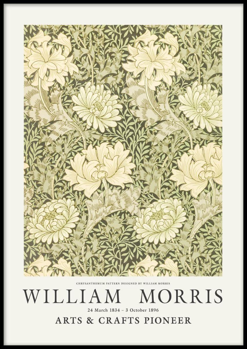 """<p>Postery, £14.95</p><p><a class=""""link rapid-noclick-resp"""" href=""""https://www.postery.com/uk/chrysanthemum-pattern-by-william-morris-poster"""" rel=""""nofollow noopener"""" target=""""_blank"""" data-ylk=""""slk:Shop now"""">Shop now</a></p><p>A country home wouldn't be complete without some reference to Arts & Crafts pioneer, William Morris. Chrysanthemum uses natural green and yellow tones and his signature intricate botanical motif for an impactful result. <br></p>"""