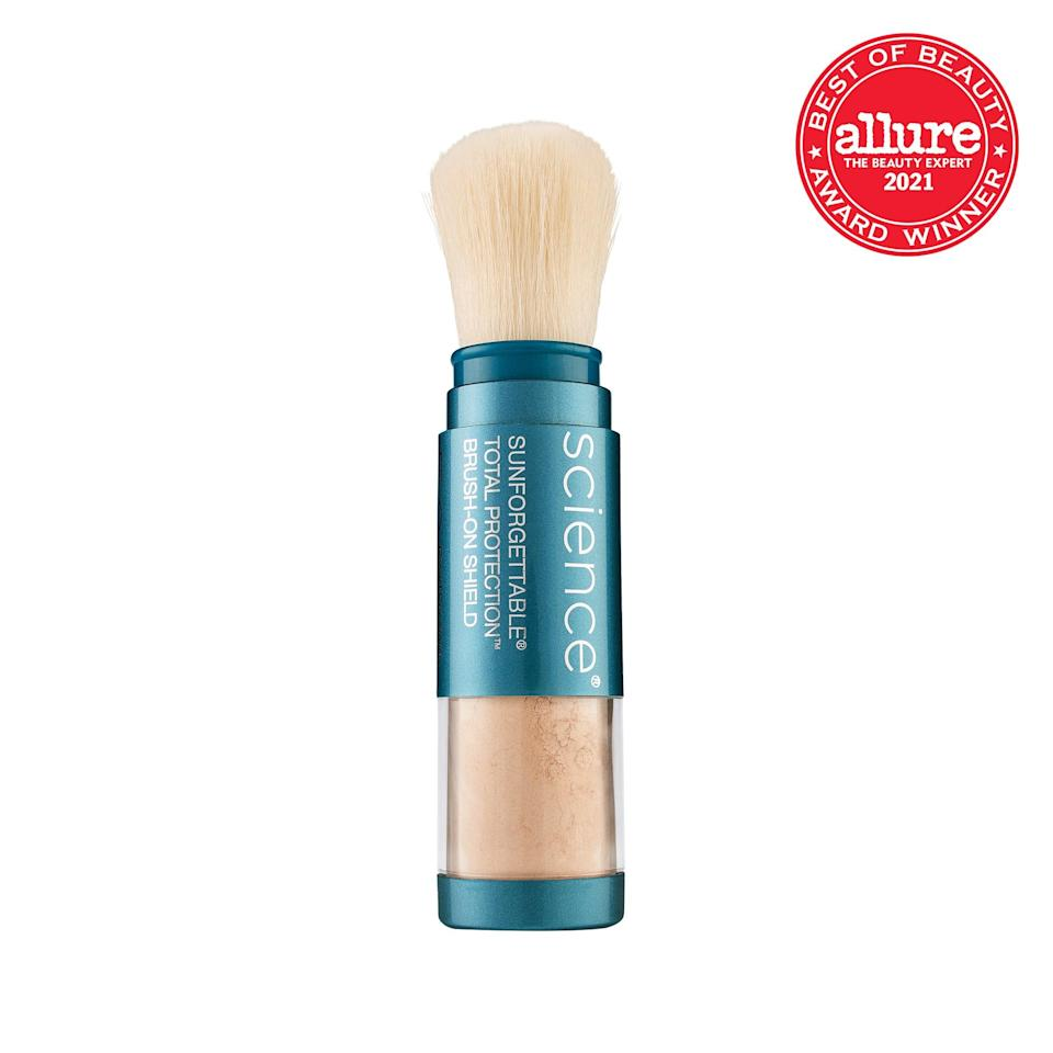 """For touch-ups, we love <strong>Colorescience Sunforgettable Total Protection Brush-On Shield SPF 50</strong>, a <a href=""""https://www.allure.com/story/what-is-powdered-sunscreen-where-to-buy?mbid=synd_yahoo_rss"""" rel=""""nofollow noopener"""" target=""""_blank"""" data-ylk=""""slk:brush-on powder"""" class=""""link rapid-noclick-resp"""">brush-on powder</a> that blurs imperfections and helps block UV rays."""