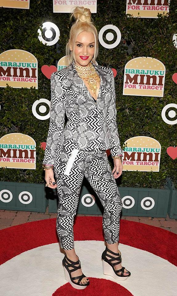 No Doubt songstress Gwen Stefani missed the bullseye upon arriving at the launch of her Harajuku Mini for Target collection in a seizure-inducing, self-designed ensemble. To make matters worse, the poorly-dressed fashionista paired her wildly patterned pantsuit with a gaudy gold necklace and unfortunate updo. (11/12/2011)