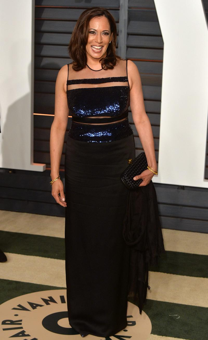 Kamala Harris arrives at the 2015 Vanity Fair Oscar Party Hosted By Graydon Carter at Wallis Annenberg Center for the Performing Arts on February 22, 2015 - Getty