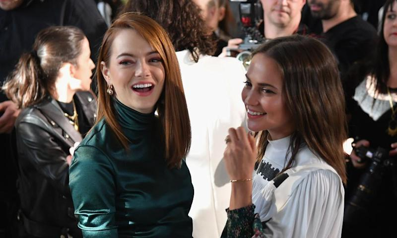 Actors Emma Stone and Alicia Vikander at the Louis Vuitton show.