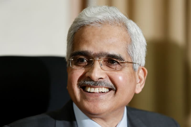 RBI Governor Shaktikanta Das greets the media in Mumbai