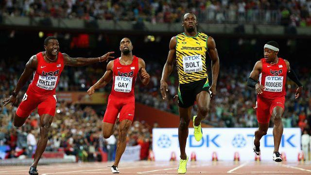 Bolt towers over his opponents. Pic: Getty