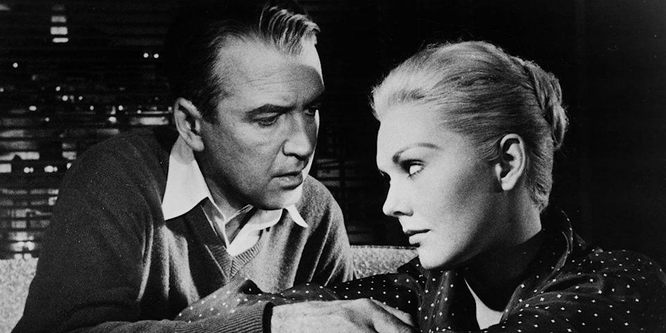 "<p>Give us a thrilling storyline (man falls for dangerous woman), a suave debonair (Jimmy Stewart), and a classic beauty (Kim Novak), and then just go ahead and stick that fork in—we're done. Arguably the most romantic film Alfred Hitchcock unleashed, <em>Vertigo</em> is a rabbit hole you want to get lost in. <a class=""link rapid-noclick-resp"" href=""https://www.amazon.com/dp/B000I9YLXU?tag=syn-yahoo-20&ascsubtag=%5Bartid%7C10056.g.6498%5Bsrc%7Cyahoo-us"" rel=""nofollow noopener"" target=""_blank"" data-ylk=""slk:Watch Now"">Watch Now</a><br></p>"