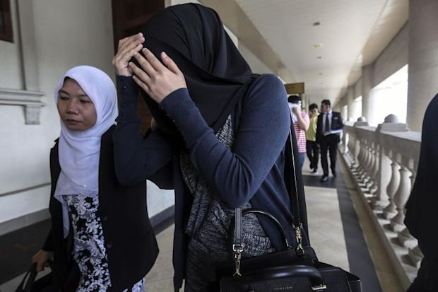 Nor Sabariah Abdul Kadir, 29, is seen outside the Cyber Court at Duta Court Complex in Kuala Lumpur, August 18, 2017.