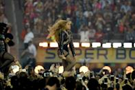 Beyonce performs during Super Bowl 50 between the Carolina Panthers and the Denver Broncos at Levi's Stadium in Santa Clara, California, on February 7, 2016 (AFP Photo/Timothy A. Clary)