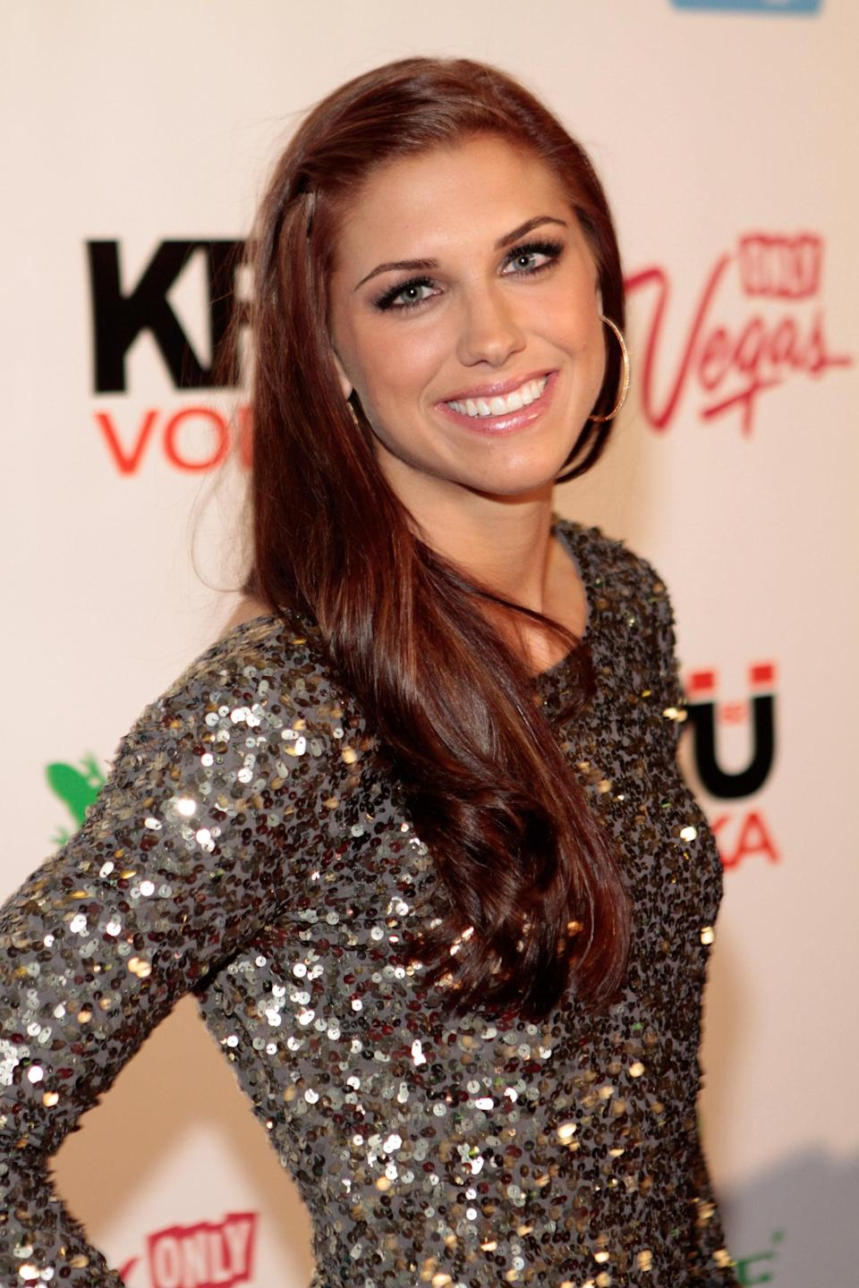 LAS VEGAS, NV - FEBRUARY 15: SI bodypaint model. soccer player Alex Morgan arrives at SI Swimsuit On Location hosted by Haze Nightclub at the Aria Resort & Casino at CityCenter on February 15, 2012 in Las Vegas, Nevada. (Photo by Jacob Andrzejczak/Getty Images for Sports Illustrated)