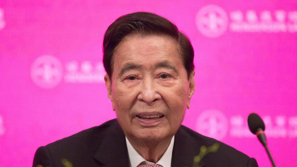 Mandatory Credit: Photo by Kin Cheung/AP/Shutterstock (10249831d)Henderson Land Development's founder and chairman Lee Shau-kee attends a news conference as he announces his retirement after the company's general meeting in Hong Kong, .