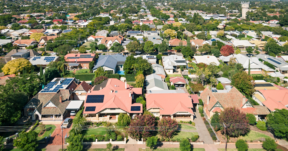 Aerial view of a leafy suburb in Adelaide
