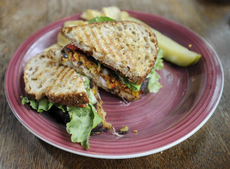 NORWAY, ME - JULY 24: The MorningStar Farms brand black bean veggie burger at Cafe Nomad in Norway, Maine. (Gordon Chibroski/Portland Press Herald via Getty Images)