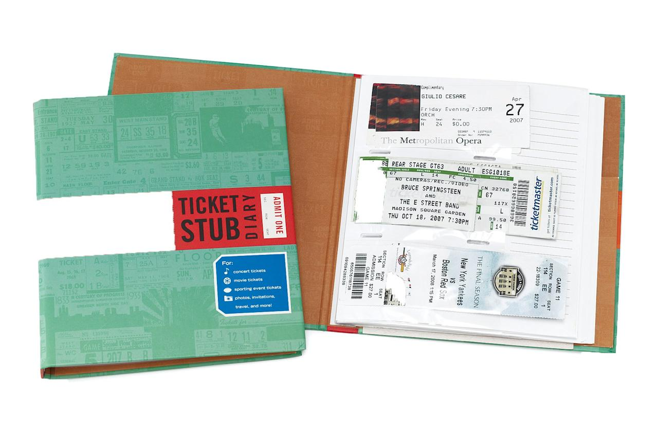 """Ticket-stub hoarders will love preserving their mementos in this handy journal, so they can always remember the first time they cried during <em>Coco.</em>  <a href=""""https://www.uncommongoods.com/product/ticket-stub-diary"""" rel=""""nofollow"""">Buy the ticket stub holder for $14.00</a>."""
