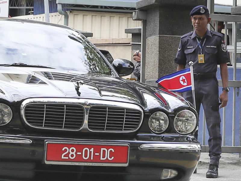 The car of ambassador of North Korea to Malaysia leaves the forensic department at the hospital in Kuala Lumpur, Malaysia: Vincent Thian/AP