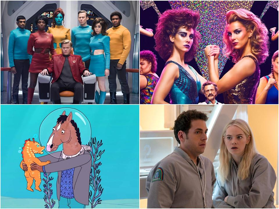 Clockwise: Black Mirror, GLOW, Maniac and Bojack Horseman (Netflix)