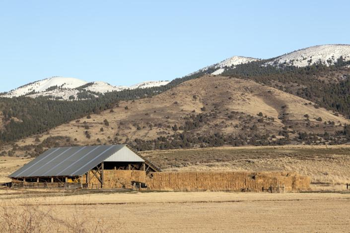 A hay barn and baling operation along U.S. 395 in the extreme northeastern corner of California, in