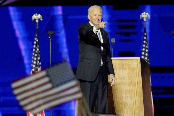 PHOTO: President-elect Joe Biden addresses the nation from the Chase Center in Wilmington, Del., after being declared the winner in the contentious election battle against incumbent President Donald Trump, Nov. 7, 2020. (Andrew Harnik/Pool via Getty Images)