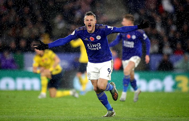 Leicester City's Jamie Vardy celebrates scoring his side's first goal against Arsenal. (Nick Potts/PA Wire.)