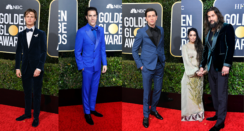 Ansel Elgort, Sacha Baron Cohen, Nicholas Braun, and Jason Momoa in shades of Classic Blue on the red carpet. Images via Getty.
