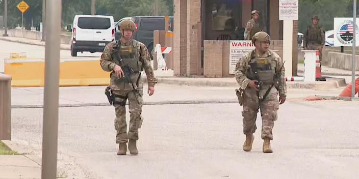 Law enforcement officials respond to a possible active shooter situation at JBSA Lackland near San Antonio, Texas, on June 9, 2021. (KXAN)