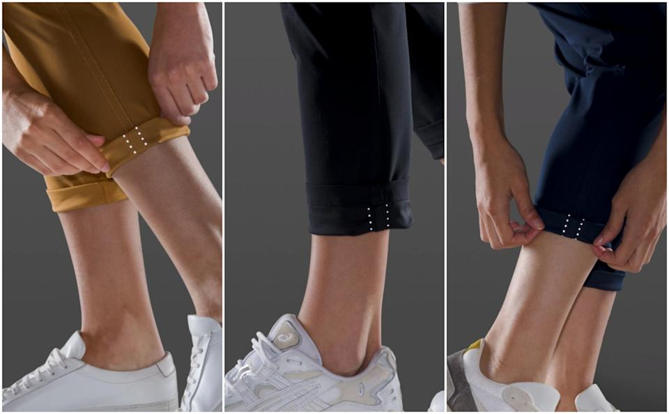 The City Sleek 5 Pocket 7/8 Pant has reflective details under the cuffs. (Photo via Lululemon)