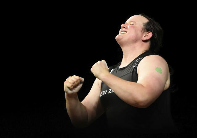 New Zealand's Laurel Hubbard reacts after her lifts in the snatch of the women's +90kg weightlifting final the 2018 Commonwealth Games on the Gold Coast, Australia, Monday, April 9, 2018. (AP Photo/Mark Schiefelbein)