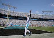 Cam Newton #1 of the Carolina Panthers celebrates after his team scores a touchdown during their game against the Los Angeles Rams at Bank of America Stadium on September 08, 2019 in Charlotte, North Carolina. (Photo by Streeter Lecka/Getty Images)