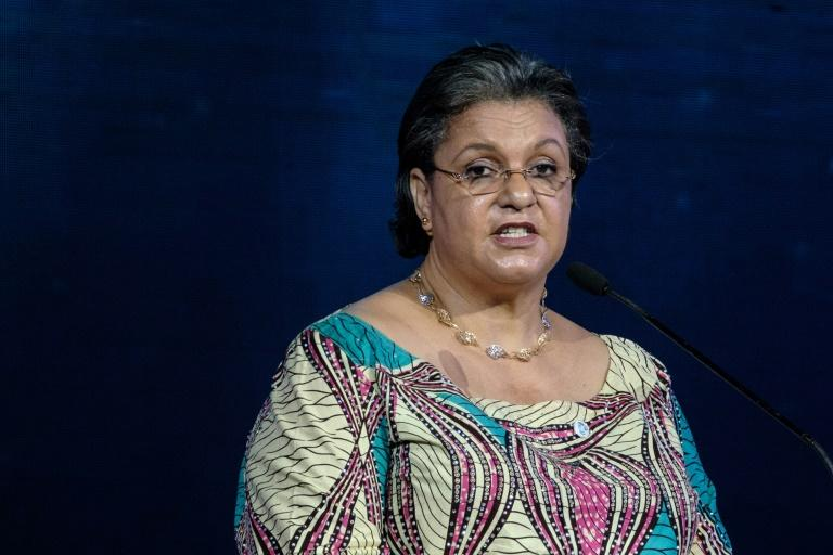 Hanna Serwaa Tetteh, who has been proposed as UN envoy on Libya, delivers a speech in Nairobi in 2018 (AFP Photo/Yasuyoshi CHIBA)