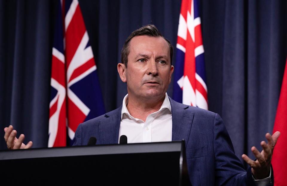 Western Australia Premier Mark McGowan speaks to the media during a press conference in Perth, Monday, April 26, 2021.