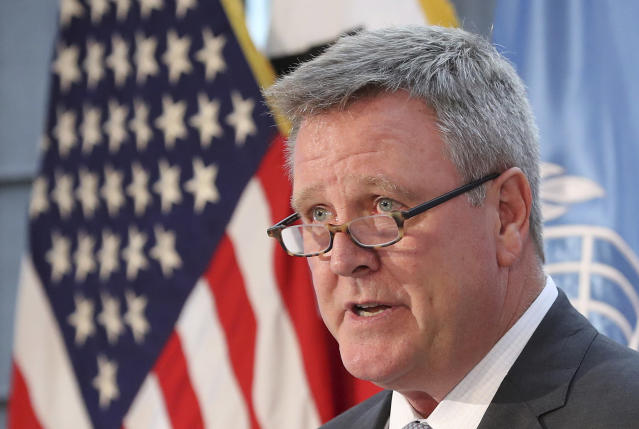 "FILE - In this Aug. 1, 2017, file photo, Scott Blackmun, CEO of the U.S. Olympic Committee, speaks at Yongsan Garrison, a U.S. military base in Seoul, South Korea. USA Gymnastics announced Friday, Jan. 26, 2018, that the remaining 18 USA Gymnastics board members, who are unpaid volunteers representing various threads of the sport across the country, will leave their positions. The announcement came two days after an open letter from USOC chief operating officer Scott Blackmun called for a ""full turnover of leadership."" (AP Photo/Lee Jin-man, File)"