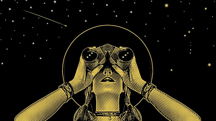 Engraving vector of a Young hipster woman with binoculars and stars