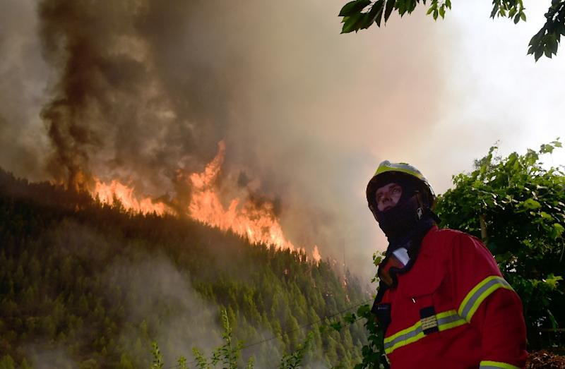 A firefighter looks on as he works to extinguish a wildfire in Carvalho, next to Pampilhosa da Serra