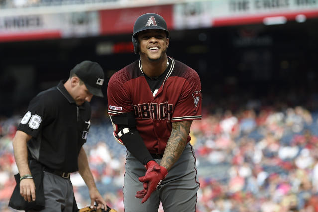 Arizona Diamondbacks' Ketel Marte celebrates his home run during the fourth inning of a baseball game against the Washington Nationals, Saturday, June 15, 2019, in Washington. (AP Photo/Nick Wass)