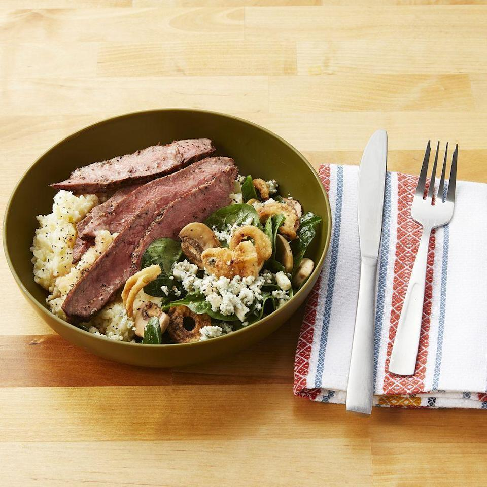 """<p>Here's a 40-minute steak dinner your whole family will fall in love with. Crumbly blue cheese and crispy fried onions add creaminess, crunch, and plain old deliciousness.</p><p><strong><a href=""""https://www.thepioneerwoman.com/food-cooking/recipes/a34577993/steakhouse-mashed-potato-bowls/"""" rel=""""nofollow noopener"""" target=""""_blank"""" data-ylk=""""slk:Get the recipe"""" class=""""link rapid-noclick-resp"""">Get the recipe</a>.</strong></p><p><a class=""""link rapid-noclick-resp"""" href=""""https://go.redirectingat.com?id=74968X1596630&url=https%3A%2F%2Fwww.walmart.com%2Fsearch%2F%3Fcat_id%3D4044_623679_3480962_3544662%26grid%3Dtrue%26query%3Dpioneer%2Bwoman%2Bbowls&sref=https%3A%2F%2Fwww.thepioneerwoman.com%2Ffood-cooking%2Fmeals-menus%2Fg35191871%2Fsteak-dinner-recipes%2F"""" rel=""""nofollow noopener"""" target=""""_blank"""" data-ylk=""""slk:SHOP BOWLS"""">SHOP BOWLS</a></p>"""