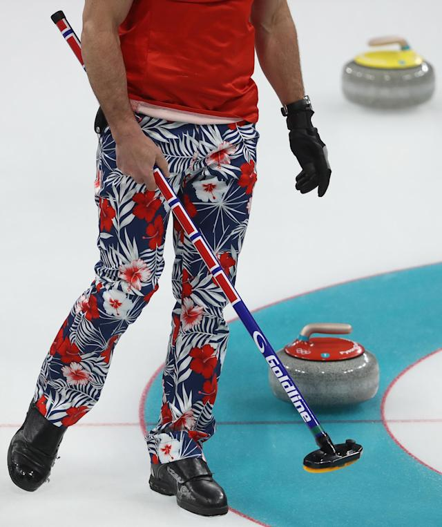 <p>A general view of the pants worn by the Norwegian team during the Curling Men's Round Robin Session 3 held at Gangneung Curling Centre on February 15, 2018 in Gangneung, South Korea. (Photo by Robert Cianflone/Getty Images) </p>