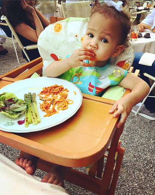 "<p>It's never too early to learn to eat some greens with your pasta. (Photo: <a href=""https://www.instagram.com/p/BXON9AsFU8l/?hl=en&taken-by=chrissyteigen"" rel=""nofollow noopener"" target=""_blank"" data-ylk=""slk:Chrissy Teigen via Instagram"" class=""link rapid-noclick-resp"">Chrissy Teigen via Instagram</a>) </p>"