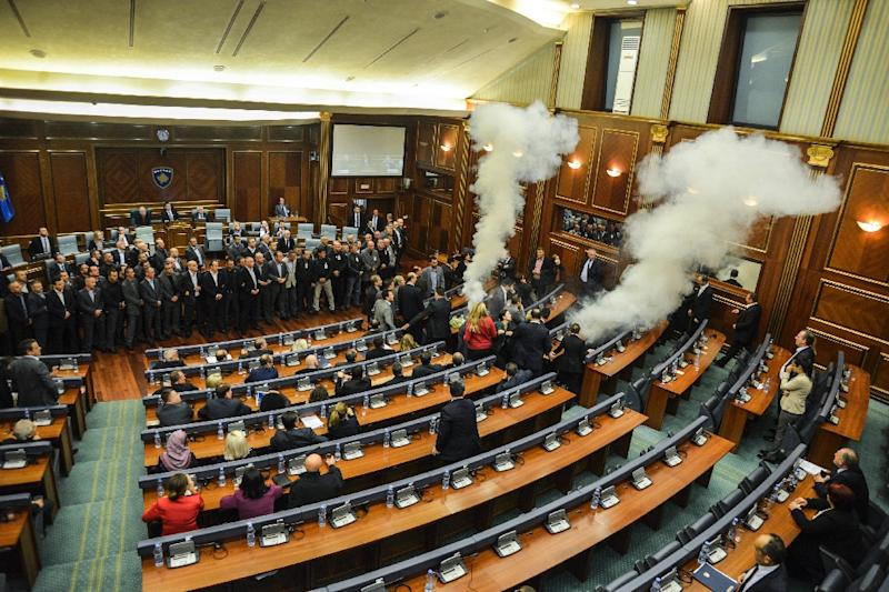 Kosovo's parliament has been paralyzed by tear gas on several occasions by MPs who oppose EU-brokered agreements with Serbia, as can be seen in this picture taken in the parliamentary chamber in Pristina on October 23, 2015