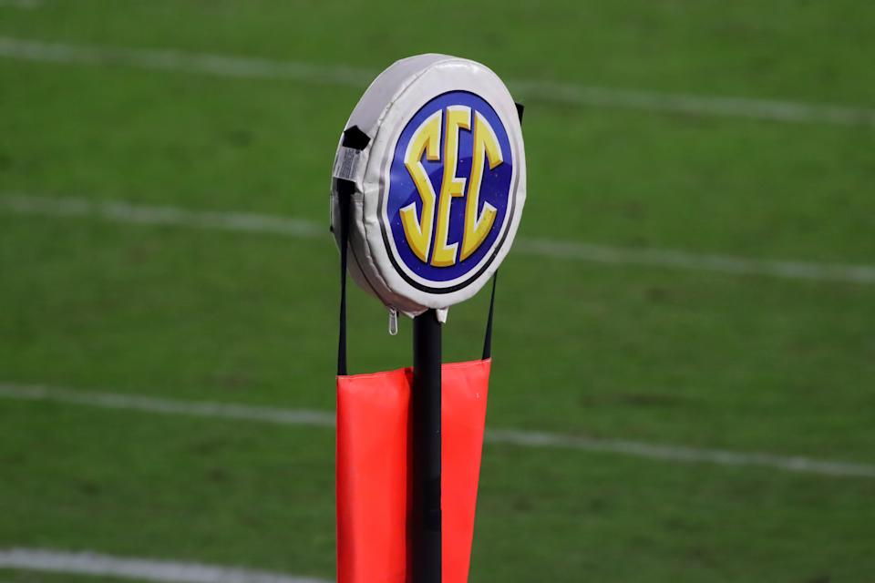 OXFORD, MS - NOVEMBER 14:  The SEC logo is displayed on a yard marker during the game between the Ole Miss Rebels and the South Carolina Gamecocks on November 14, 2020, at Vaught-Hemingway Stadium in Oxford, MS.  (Photo by Michael Wade/Icon Sportswire via Getty Images)