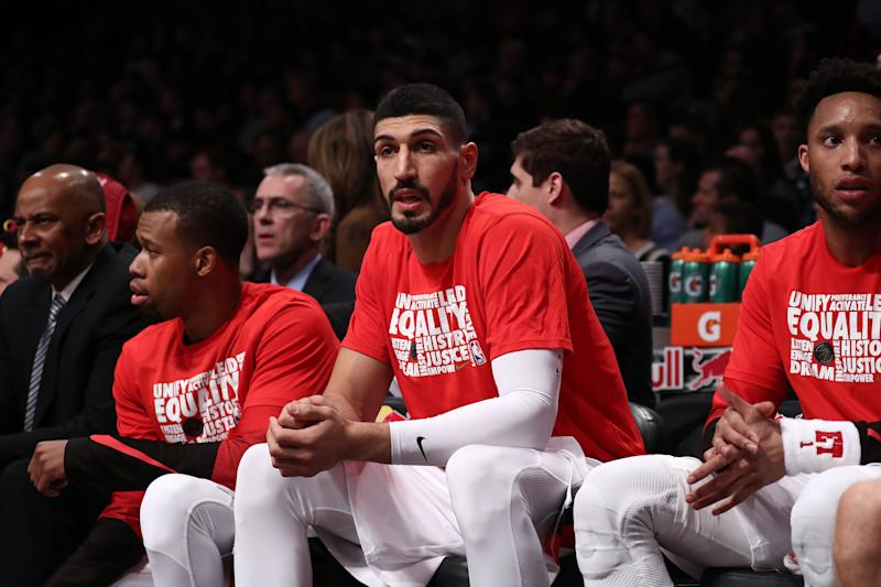 NEW YORK, NEW YORK - FEBRUARY 21: Enes Kanter #00 of the Portland Trail Blazers looks on against the Brooklyn Netsduring their game at Barclays Center on February 21, 2019 in New York City. NOTE TO USER: User expressly acknowledges and agrees that, by downloading and or using this photograph, User is consenting to the terms and conditions of the Getty Images License Agreement. (Photo by Al Bello/Getty Images)
