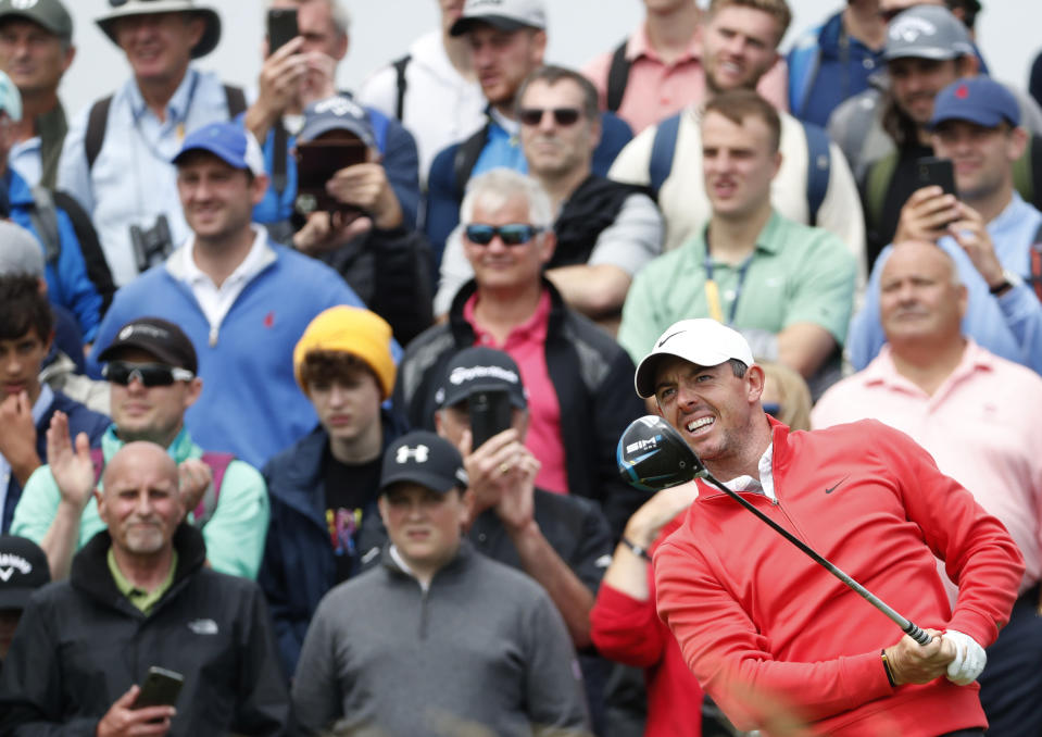 Northern Ireland's Rory McIlroy hits his the shot on the 4th hole during a practice round for the British Open Golf Championship at Royal St George's golf course Sandwich, England, Tuesday, July 13, 2021. The Open starts Thursday, July, 15. (AP Photo/Peter Morrison)