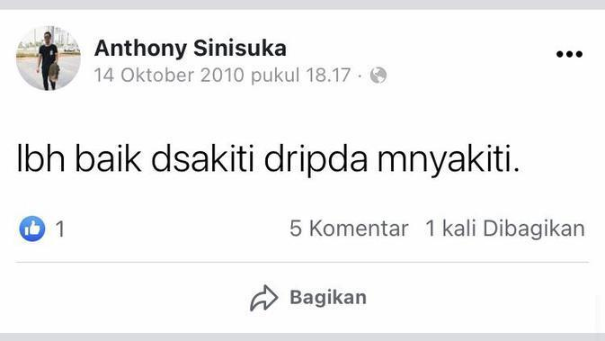 Status Facebook lawas Anthony Ginting (Sumber: Twitter/valnentiness)