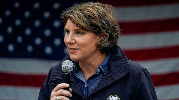 PHOTO: Democratic Senate candidate Amy McGrath speaks at a campaign event in Danville, Ky., Oct. 28, 2020. (Bryan Woolston/Reuters)