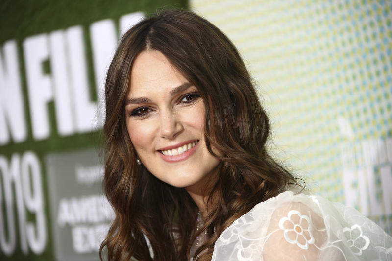Actress Keira Knightley poses for photographers upon arrival at the premiere of the 'Official Secrets' which is screened as part of the London Film Festival, in central London, Thursday, Oct. 10, 2019. (Photo by Joel C Ryan/Invision/AP)