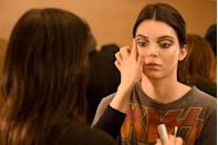 <p>Kendall Jenner backstage before the Diane Von Furstenberg show during New York Fashion Week, February 2016.</p>