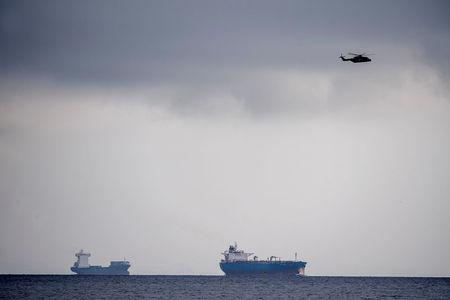 A helicopter search the area off of Copenhagen Harbour where the world's largest privately-built submarine 'Nautilus' was reported missing near Copenhagen, Denmark August 11, 2017. Scanpix Denmark/Bax Lindhardt via REUTERS