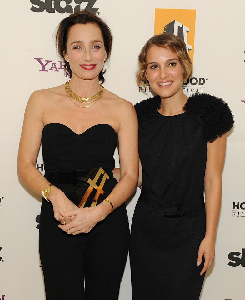 """<a href=""""http://movies.yahoo.com/movie/contributor/1800019287"""">Kristin Scott Thomas</a> and <a href=""""http://movies.yahoo.com/movie/contributor/1800020300"""">Natalie Portman</a> backstage at the 12th Annual Hollywood Film Festival Awards Gala in Beverly Hills - 10/27/2008"""