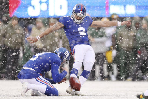 New York Giants kicker Aldrick Rosas (2) kicks for a point after try during the first half of an NFL football game against the Green Bay Packers, Sunday, Dec. 1, 2019, in East Rutherford, N.J. The Green Bay Packers won 31-13. (AP Photo/Steve Luciano)