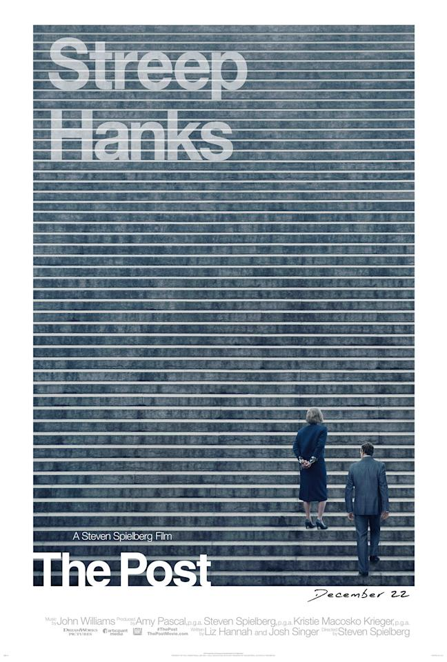 <p>There's lots to admire about this elegant Spielberg poster: the era-sensitive Helvetica font, the fact that the two biggest movie stars in the world don't even have to show their faces, and the fact that the horizontal steps on the poster also look like a redacted document – perfectly in keeping with the themes of the movie. And when you realise the poster depicts the steps of the Supreme Court, it turns a good poster great. </p>