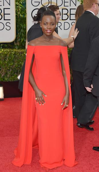 Lupita Nyong'o arrives at the 71st annual Golden Globe Awards at the Beverly Hilton Hotel on Sunday, Jan. 12, 2014, in Beverly Hills, Calif. (Photo by John Shearer/Invision/AP)