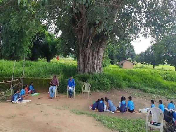 Classes taking place under a tree (Photo/ANI)