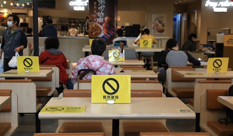 Social distancing in place at a restaurant. Photo: May Tse